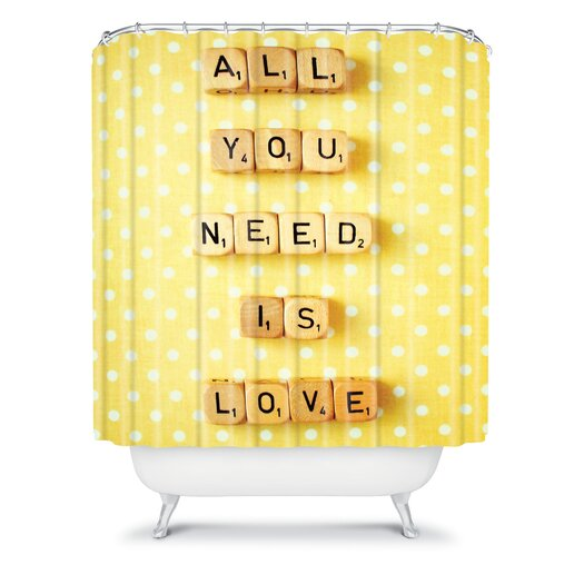 DENY Designs Happee Monkee Tiles All You Need Is Love Shower Curtain