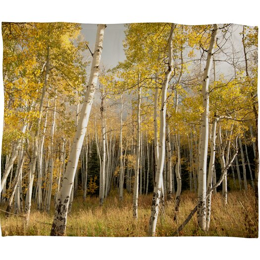 DENY Designs Bird Wanna Whistle Golden Aspen Throw Blanket