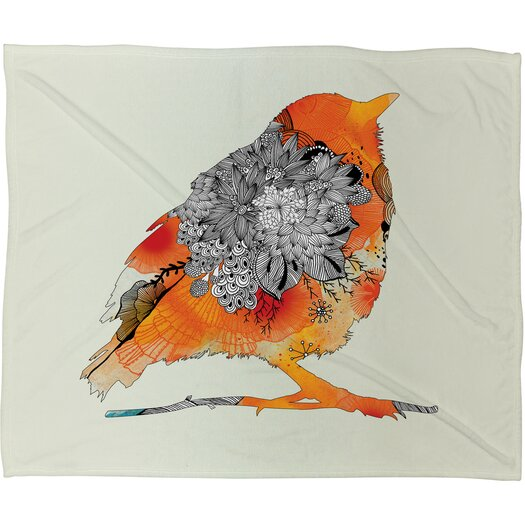 DENY Designs Iveta Abolina Orange Bird Throw Blanket