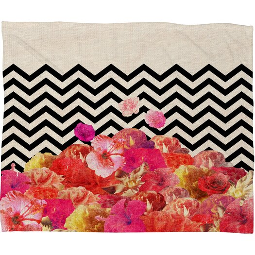DENY Designs Bianca Green Chevron Flora 2 Throw Blanket