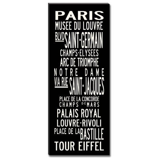Uptown Artworks Paris Textual Art Giclee Printed on Canvas