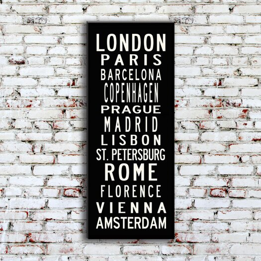 Uptown Artworks European Cities Textual Art Giclee Printed on Canvas