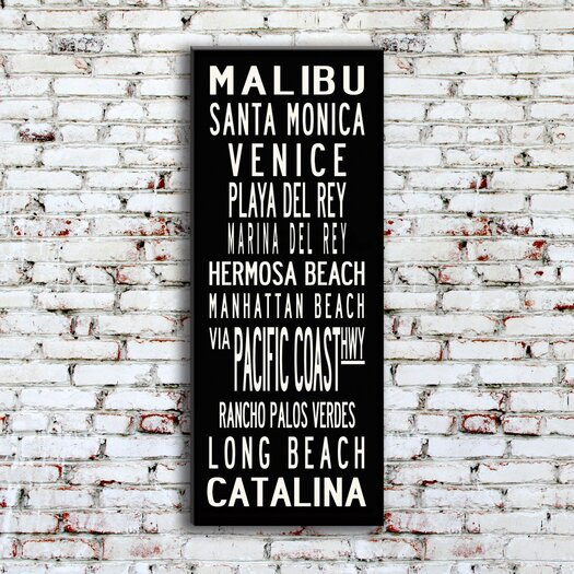 Uptown Artworks LA Coast Textual Art Giclee Printed on Canvas