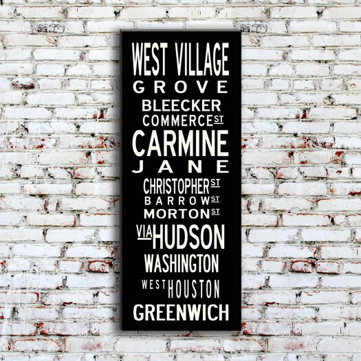 Uptown Artworks West Village Textual Art Giclee Printed on Canvas