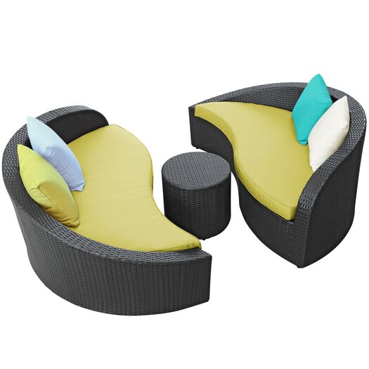 Modway Magatama 3 Piece Lounge Seating Group with Cushions