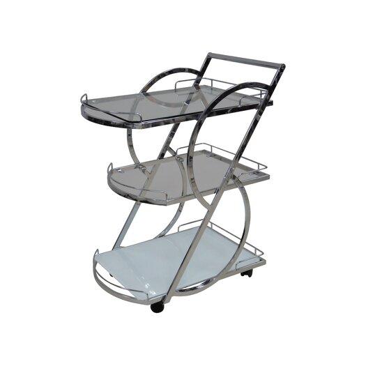 Casabianca Furniture Siena Kitchen Cart with Glass Top