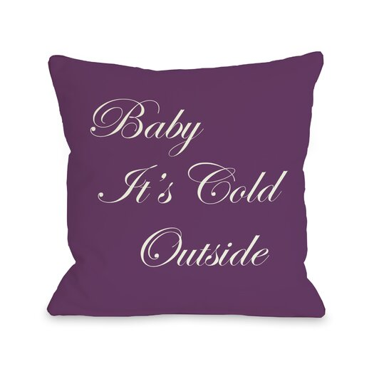 One Bella Casa Holiday Baby It's Cold Outside Reversible Throw Pillow