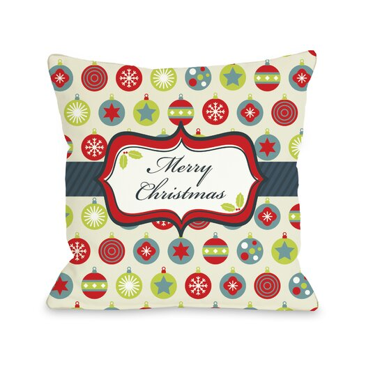 One Bella Casa Holiday Merry Christmas Ornaments Throw Pillow