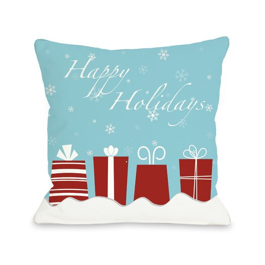 One Bella Casa Holiday Happy Presents Throw Pillow