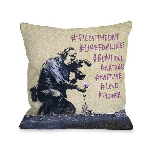 One Bella Casa Flower Hashtags Throw Pillow