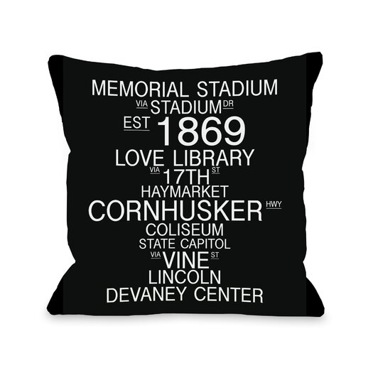 One Bella Casa Lincoln Nebraska Landmarks Throw Pillow