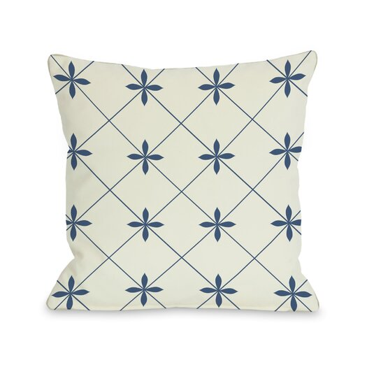 One Bella Casa Crisscross Flowers Throw Pillow