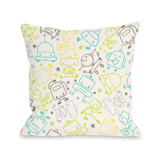 One Bella Casa Space Robots Throw Pillow