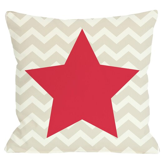 One Bella Casa Holiday Chevron Star Reversible Throw Pillow