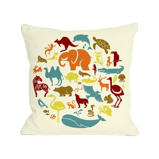 One Bella Casa Safari Animals Throw Pillow