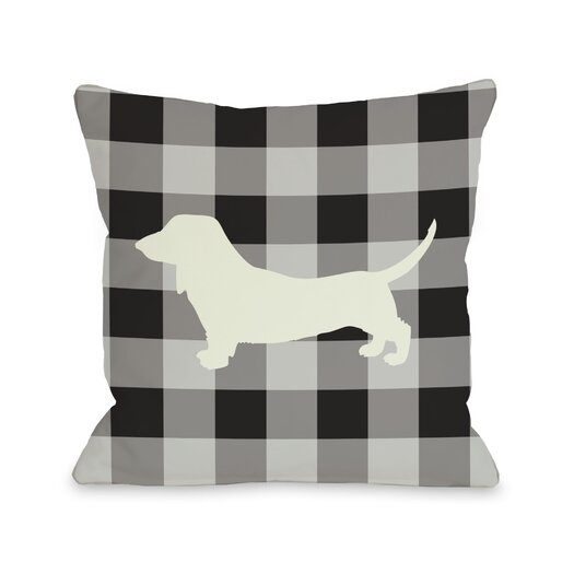 One Bella Casa Doggy Décor Gingham Silhouette Doxie Throw Pillow