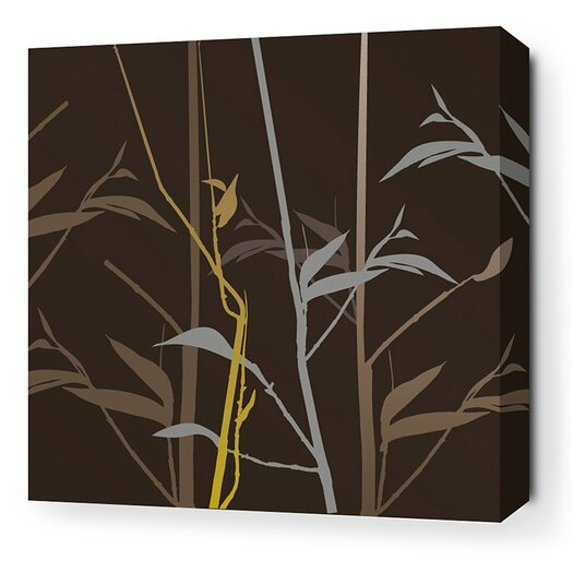 Morning Glory Tall Grass Stretched Graphic Art on Wrapped Canvas in Charcoal and Olive