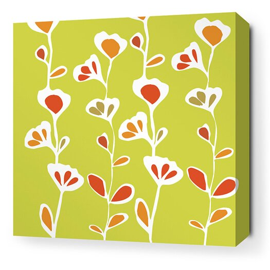Inhabit Rhythm Stencil Stretched Graphic Art on Wrapped Canvas in Pear and Rust
