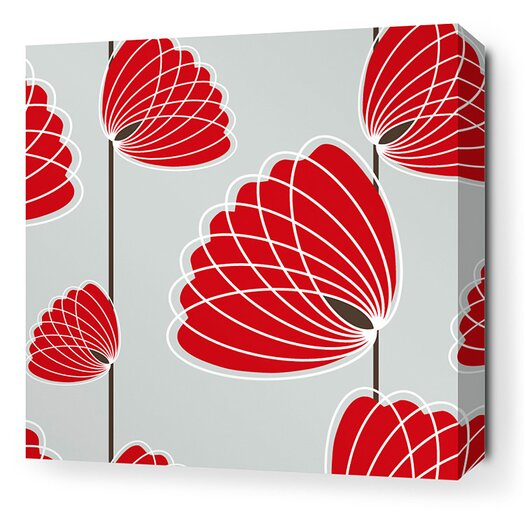 Inhabit Aequorea Lotus Graphic Art on Wrapped Canvas in Silver and Scarlet
