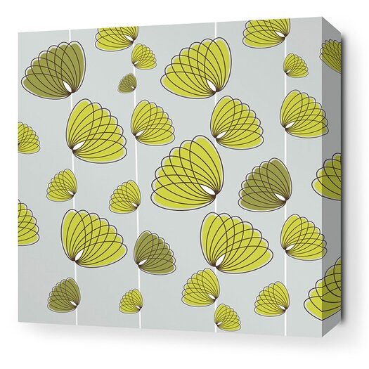 Inhabit Aequorea Floating Lotus Graphic Art on Wrapped Canvas in Silver and Grass