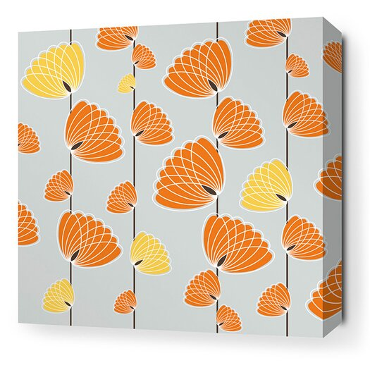 Aequorea Floating Lotus Graphic Art on Wrapped Canvas in Silver and Sunshine