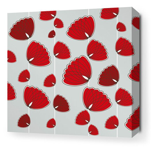 Aequorea Floating Lotus Graphic Art on Wrapped Canvas in Silver and Scarlet
