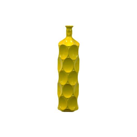 Urban Trends Ceramic Bottle Vase LG Dimpled Gloss Yellow