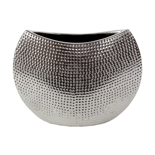Urban Trends Ceramic Vase in Chrome Silver