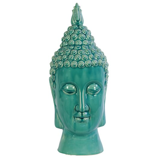 Urban Trends Ceramic Buddha Head Gloss Cyan