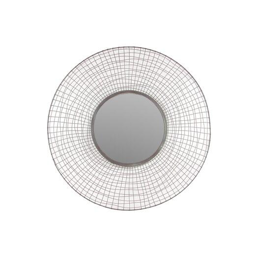 "Urban Trends Metal Circular Mirror with Concave Mesh Design Frame Dark Gray 16""D"
