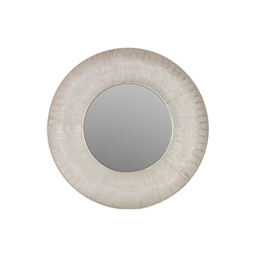 Urban Trends Metal Round Wall Mirror in Pierced Metal Satin Silver