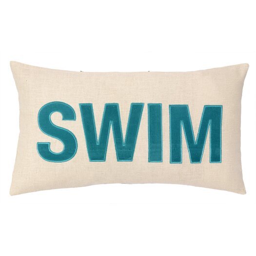 Peking Handicraft Nautical Applique Swim Lumbar Pillow