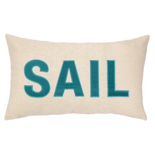Peking Handicraft Nautical Applique Sail Lumbar Pillow