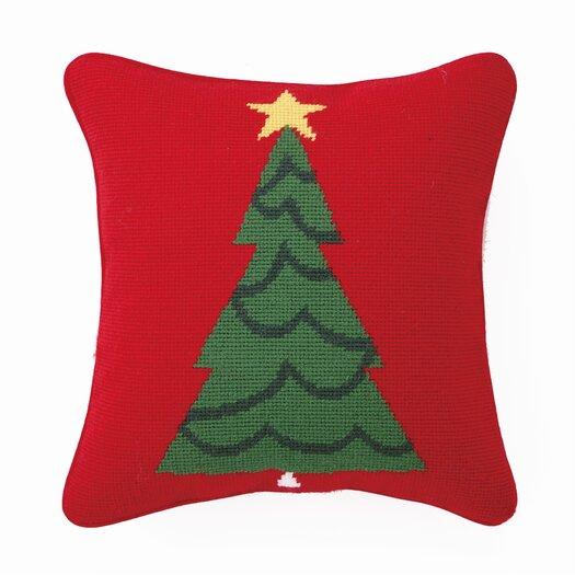 Peking Handicraft Needlepoint Trim a Tree Wool Throw Pillow