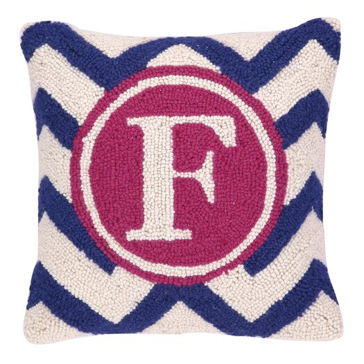 Peking Handicraft Monogram Letter F Hook Wool Throw Pillow AllModern