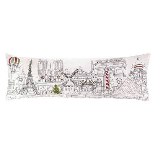 Peking Handicraft Embroidery Christmas in Paris Wool Lumbar Pillow