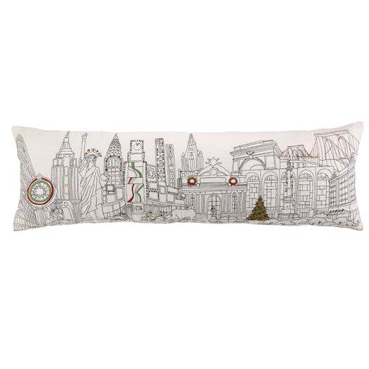 Peking Handicraft Embroidery Christmas in NYC Cotton Lumbar Pillow