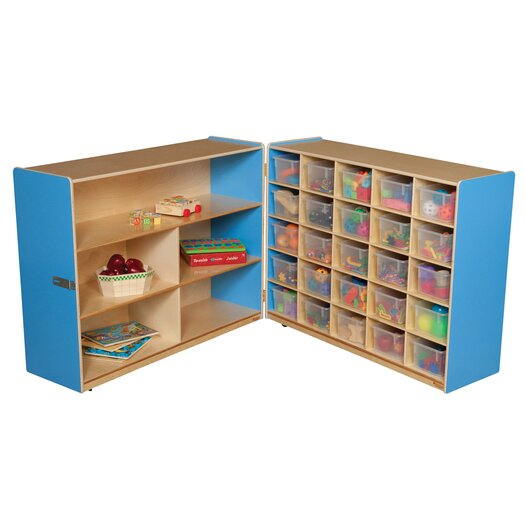 Wood Designs Tray and Shelf Fold Storage Unit with 25 Clear Trays