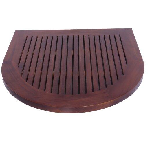 Decoteak Classic Spa Oval Semicircle Teak Shower and Floor Mat