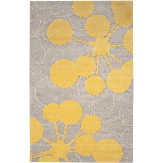 Jef Designs Organic Modern Bubble Gray & Yellow Area Rug
