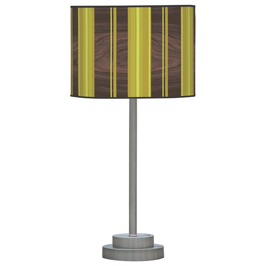 """Jef Designs Organic Modern Vertical Stripes Stem 24"""" H Table Lamp with Drum Shade"""