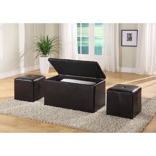 Modus Furniture Urban One Seat Bench with 2 Ottomans