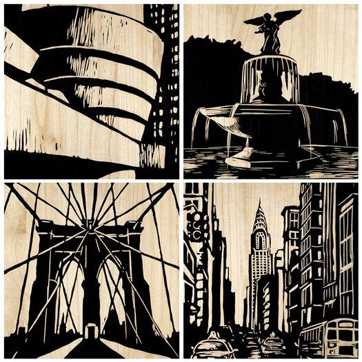 Selamat New York City 4 Piece Graphic Art Plaque Set