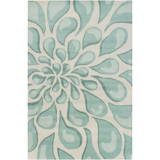 Chandra Stella Patterned Contemporary Wool Beige Aqua Area: Filament Cinzia Sky Blue Large Drops Blowout Area Rug
