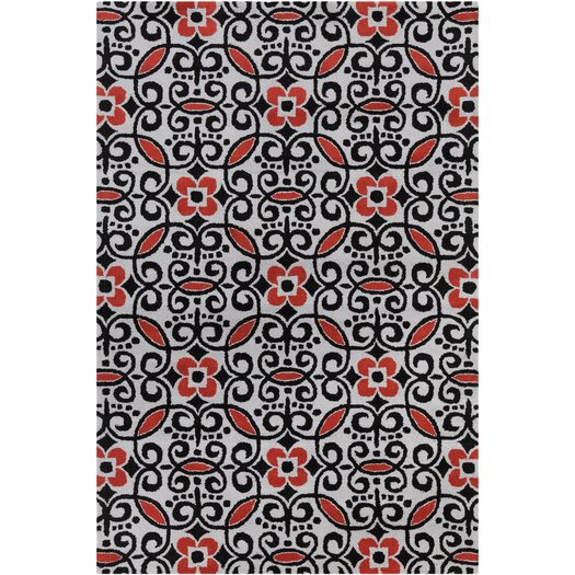 Filament  LLC Cinzia Black / Red Abstract Area Rug