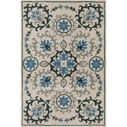 filament cinzia cream dark teal floral area rug allmodern. Black Bedroom Furniture Sets. Home Design Ideas
