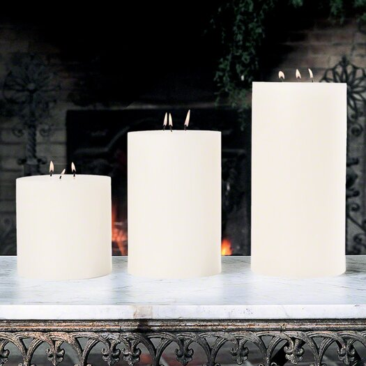Global Views Unscented 3 Wick Pillar Candle