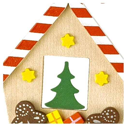 Alexander Taron Christian Ulbricht Gingerbread House with Candy Cane Roof Ornament