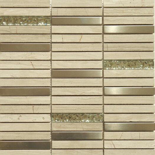 "Faber Fusion Series 5/8"" x 4"" Mixed Metal Glass Marble Mosaic in Multi"