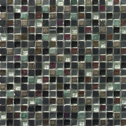 Faber Flare Series Mixed Glass and Stone Mosaic in Black